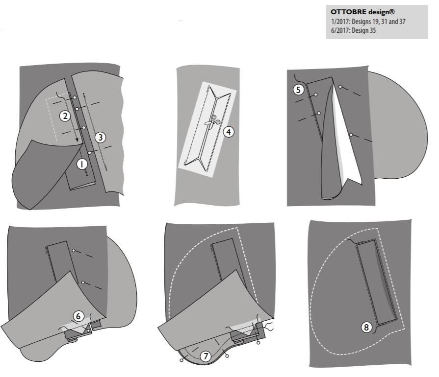 Прорезной карман с листочкой выкройка оттобре